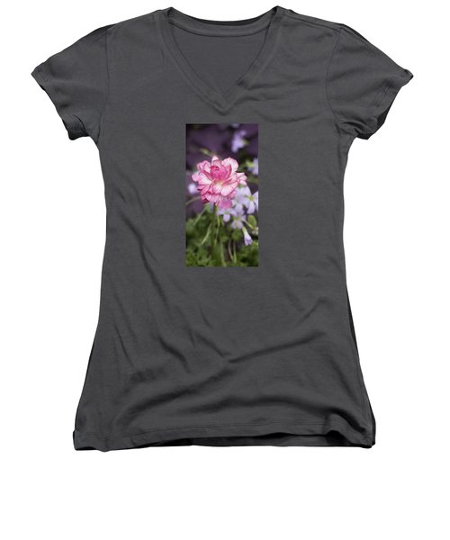 Pretty In Pink Women's V-Neck T-Shirt (Junior Cut) by Morris  McClung