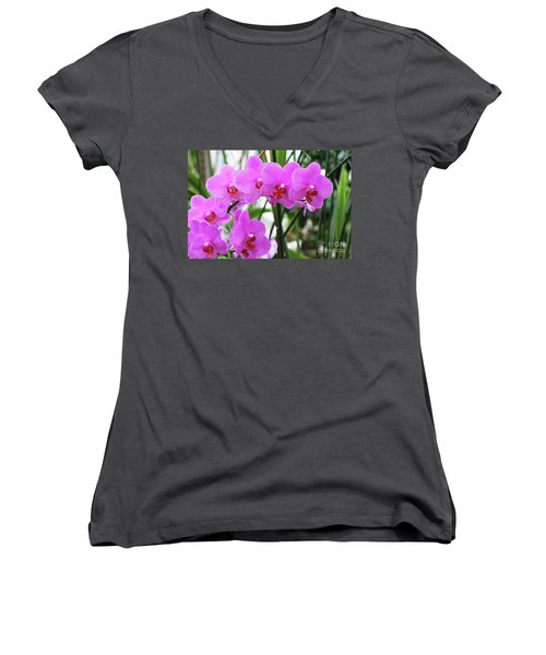 Pretty Pink Phalaenopsis Orchids #2 Women's V-Neck (Athletic Fit)