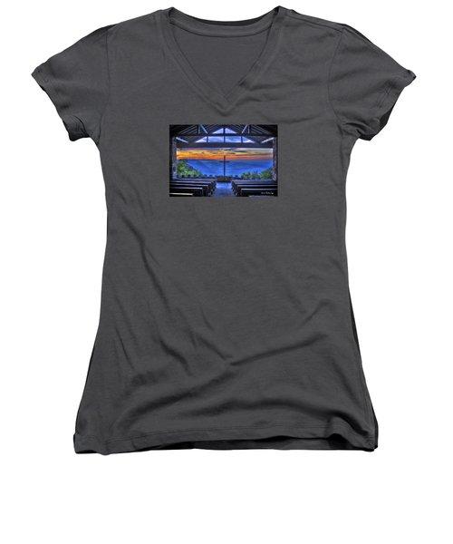 Pretty Place Chapel Sunrise 777  Women's V-Neck T-Shirt (Junior Cut) by Reid Callaway