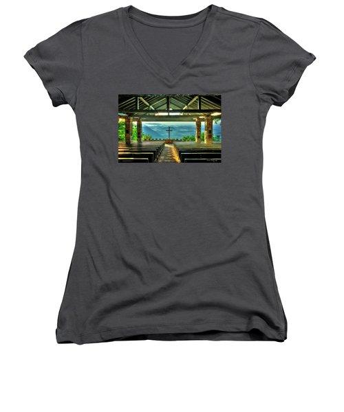 Pretty Place Chapel The Son Has Risen Women's V-Neck T-Shirt (Junior Cut) by Reid Callaway