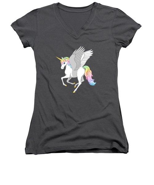 Pretty Rainbow Unicorn Flying Horse Women's V-Neck T-Shirt