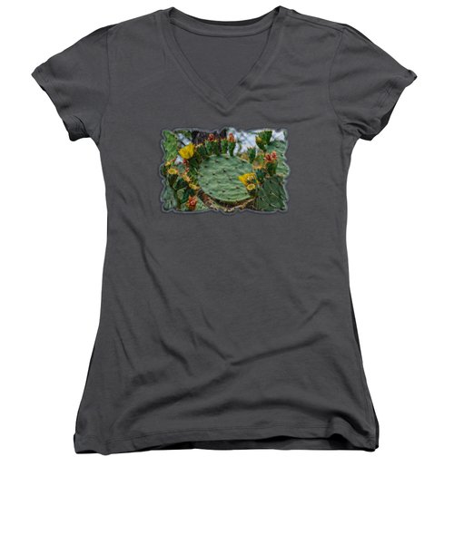 Prickly Pear Flowers H35 Women's V-Neck T-Shirt