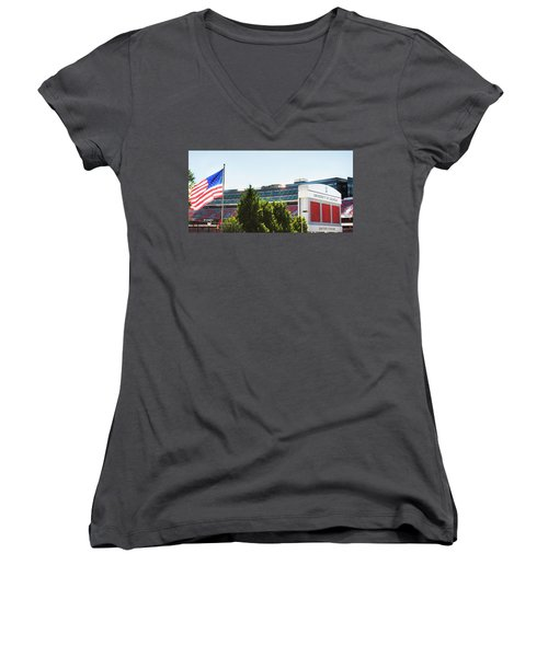 Women's V-Neck T-Shirt (Junior Cut) featuring the photograph Pride Of Athens by Parker Cunningham