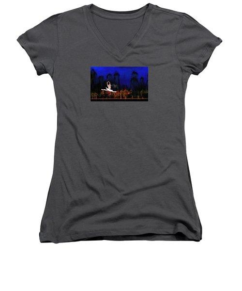Prima Ballerina Women's V-Neck T-Shirt (Junior Cut) by Louis Ferreira
