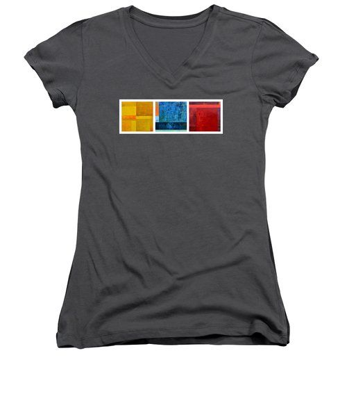 Women's V-Neck T-Shirt featuring the painting Primary - Artprize 2017 by Michelle Calkins