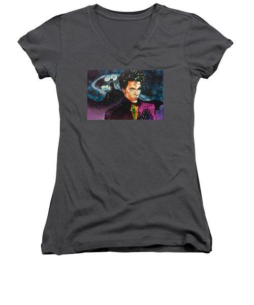 Women's V-Neck T-Shirt (Junior Cut) featuring the painting  Prince Batdance by Darryl Matthews