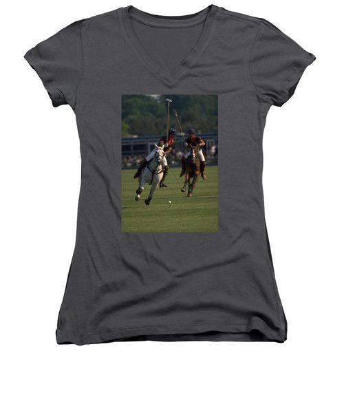 Prince Charles Playing Polo Women's V-Neck (Athletic Fit)