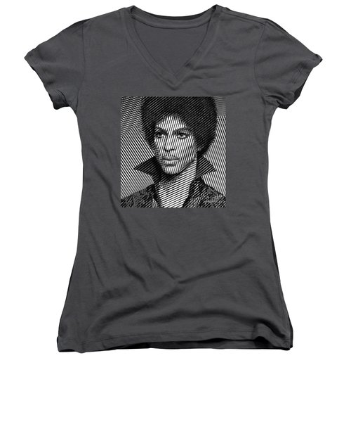 Prince - Tribute In Black And White Sketch Women's V-Neck