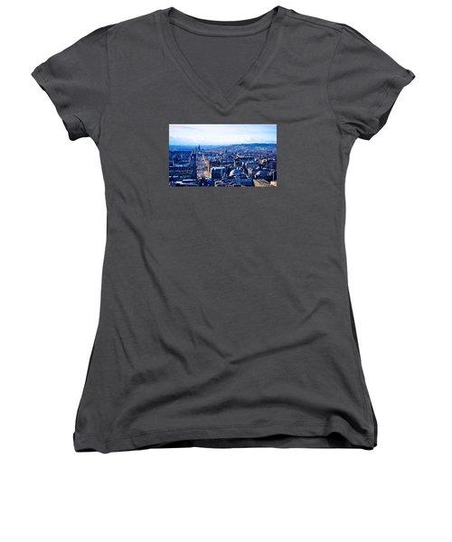 Prince's Street  Women's V-Neck T-Shirt (Junior Cut) by Ashley Hudson