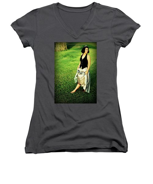 Princess Along The Grass Women's V-Neck (Athletic Fit)