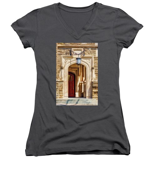 Women's V-Neck T-Shirt (Junior Cut) featuring the photograph Princeton University 1901 Laughlin Hall by Susan Candelario