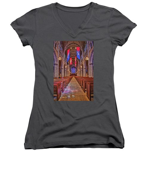 Women's V-Neck T-Shirt (Junior Cut) featuring the photograph Princeton University Chapel by Susan Candelario