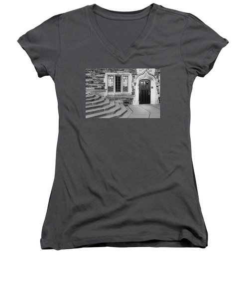 Women's V-Neck T-Shirt (Junior Cut) featuring the photograph Princeton University Lockhart Hall Bw by Susan Candelario