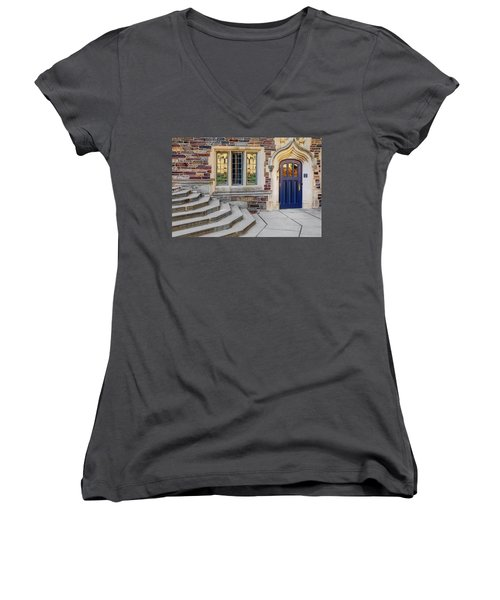 Women's V-Neck T-Shirt (Junior Cut) featuring the photograph Princeton University Lockhart Hall by Susan Candelario