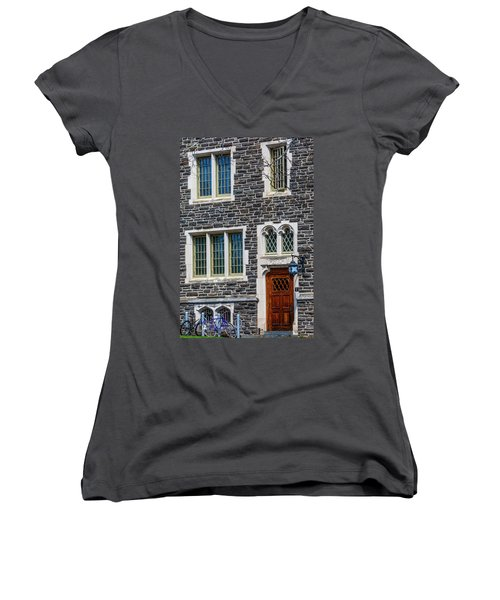 Women's V-Neck T-Shirt (Junior Cut) featuring the photograph Princeton University Patton Hall No 9 by Susan Candelario