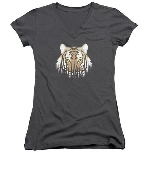 Hiding Tiger Women's V-Neck T-Shirt (Junior Cut) by Sinisa Kale