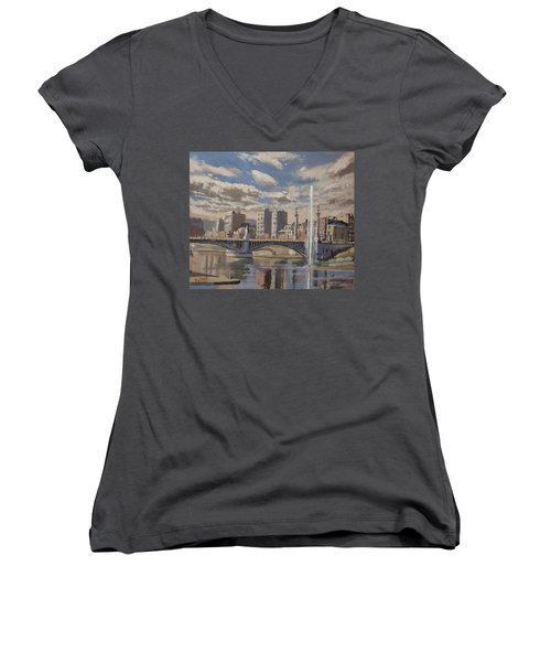 Printemps Sur Le Pont Fragnee Liege Women's V-Neck T-Shirt (Junior Cut)
