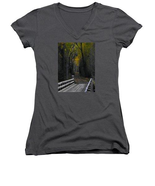 Privacy Women's V-Neck T-Shirt (Junior Cut) by Laura Ragland