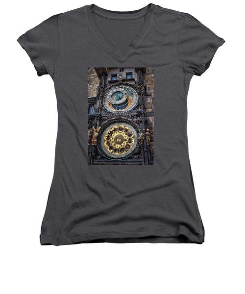 Progue Astronomical Clock Women's V-Neck T-Shirt