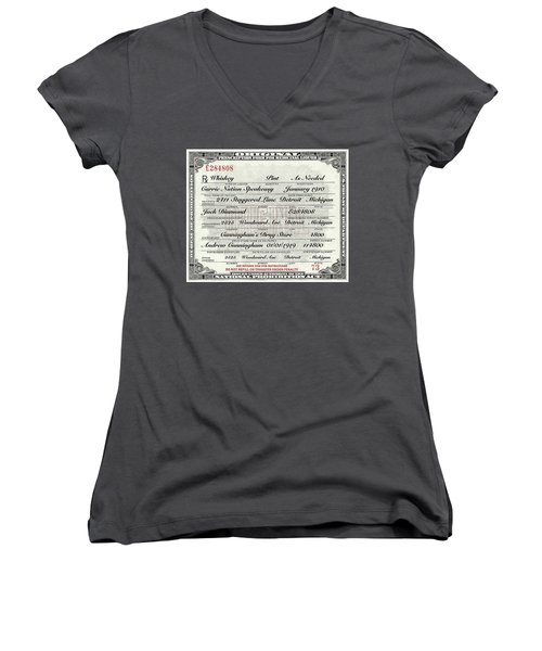 Women's V-Neck T-Shirt (Junior Cut) featuring the photograph Prohibition Prescription Certificate Carrie Nation Speakeasy by David Patterson