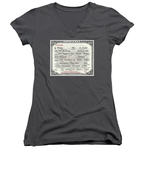 Women's V-Neck T-Shirt (Junior Cut) featuring the photograph Prohibition Prescription Certificate Establishments by David Patterson