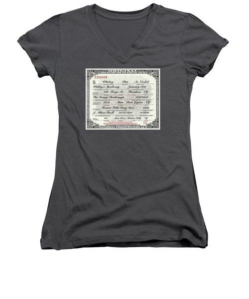 Women's V-Neck T-Shirt (Junior Cut) featuring the photograph Prohibition Prescription Certificate Speakeasy by David Patterson