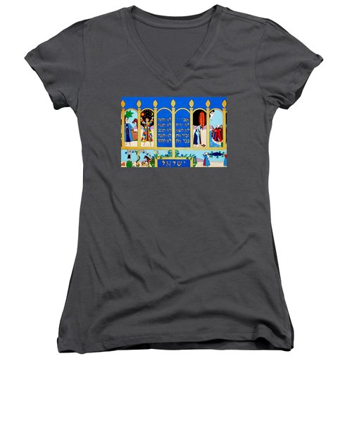 Women's V-Neck T-Shirt (Junior Cut) featuring the painting Promised Land by Stephanie Moore