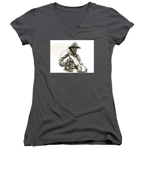 Women's V-Neck featuring the digital art Prospector by Antonio Romero