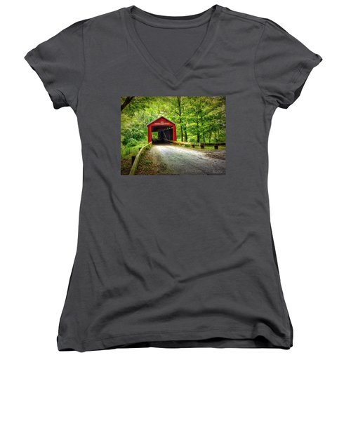 Protected Crossing In Summer Women's V-Neck (Athletic Fit)