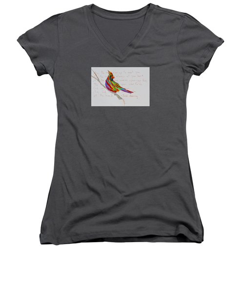 Proud Cardinal With Blessing Women's V-Neck T-Shirt (Junior Cut) by Beverley Harper Tinsley