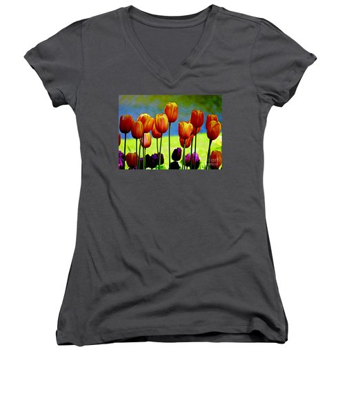 Proud Tulips Women's V-Neck (Athletic Fit)