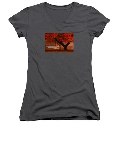 Women's V-Neck T-Shirt (Junior Cut) featuring the photograph Proverbs 11 30 Scripture And Picture by Ken Smith