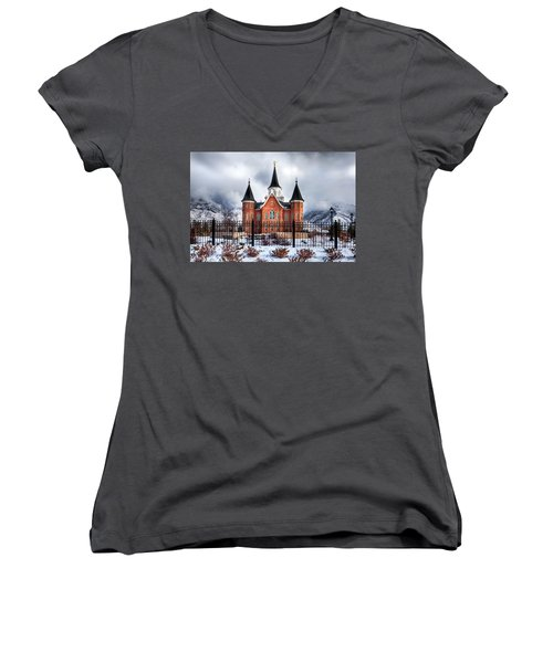 Provo City Center Temple Lds Large Canvas Art, Canvas Print, Large Art, Large Wall Decor, Home Decor Women's V-Neck T-Shirt (Junior Cut) by David Millenheft