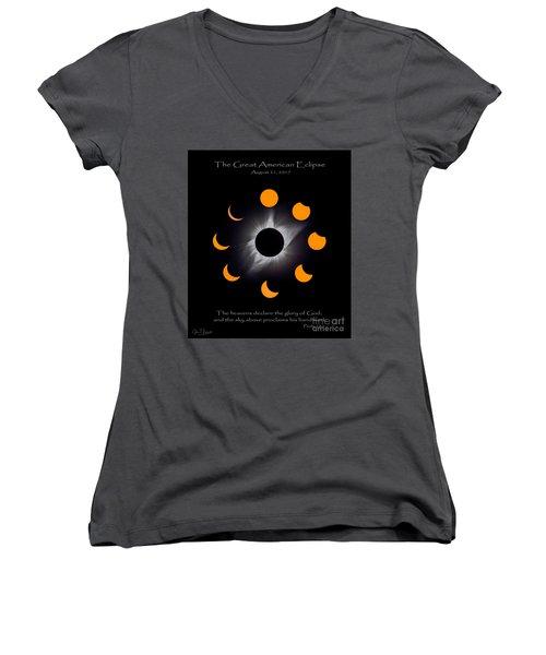 Psalm Nineteen Solar Eclipse Women's V-Neck T-Shirt