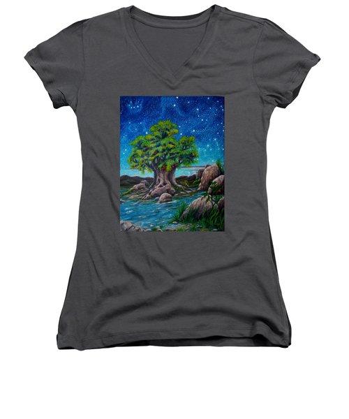 Psalm One Women's V-Neck T-Shirt (Junior Cut) by Matt Konar