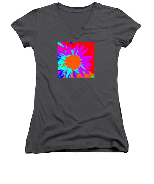 Psychedelic Sunflower Women's V-Neck (Athletic Fit)