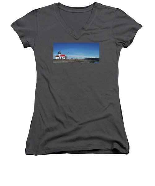 Pt Robinson Lighthouse 2, Maury Island, Washington Women's V-Neck (Athletic Fit)
