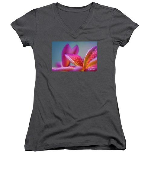 Women's V-Neck T-Shirt (Junior Cut) featuring the photograph Pua Melia Ke Aloha Hawaii  by Sharon Mau