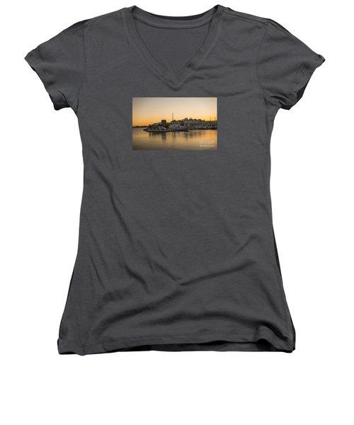 Puerto Banus In Marbella At Sunset. Women's V-Neck T-Shirt (Junior Cut) by Perry Van Munster