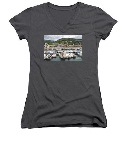 Puerto De Soller In Majorca Women's V-Neck (Athletic Fit)