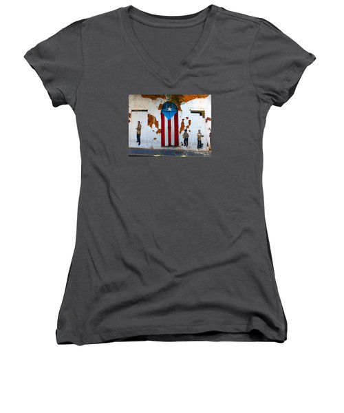 Puerto Rican Flag On Wooden Door Women's V-Neck T-Shirt