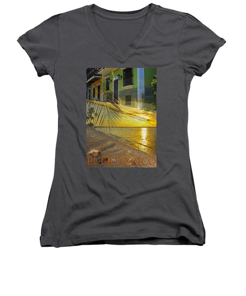 Puerto Rico Collage 3 Women's V-Neck T-Shirt (Junior Cut) by Stephen Anderson