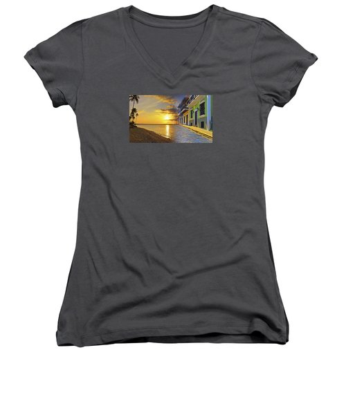 Puerto Rico Montage 1 Women's V-Neck (Athletic Fit)