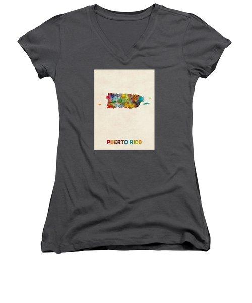 Puerto Rico Watercolor Map Women's V-Neck T-Shirt (Junior Cut) by Michael Tompsett