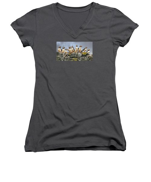 Women's V-Neck T-Shirt (Junior Cut) featuring the photograph Puffin's Rock by Brian Tarr