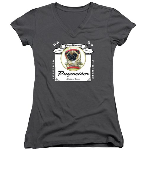 Pugweiser Beer Women's V-Neck