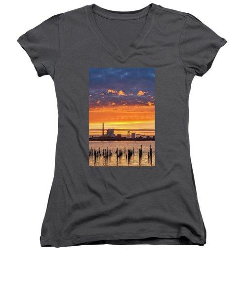 Pulp Mill Sunset Women's V-Neck T-Shirt (Junior Cut) by Greg Nyquist