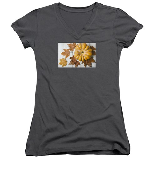 Pumkin And Maple Leaves Women's V-Neck