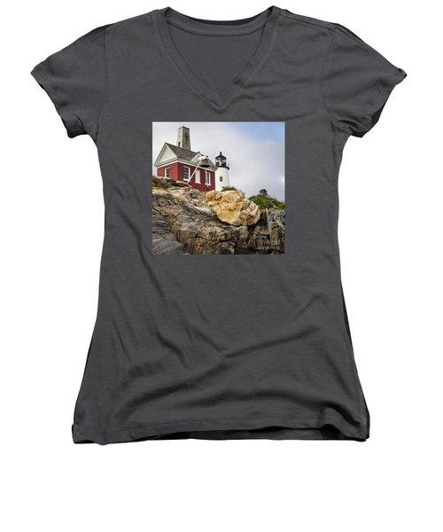 Women's V-Neck T-Shirt (Junior Cut) featuring the photograph Pumphouse And Tower, Pemaquid Light, Bristol, Maine  -18958 by John Bald