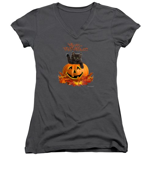 Pumpkin Kitty Women's V-Neck (Athletic Fit)